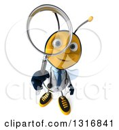Clipart Of A 3d Happy Bee Doctor Searching And Looking Up With A Magnifying Glass Royalty Free Illustration by Julos