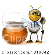 Clipart Of A 3d Bespectacled Bee Doctor Holding A Dipper By A Honey Jar Royalty Free Illustration by Julos