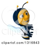 Clipart Of A 3d Happy Bee Doctor Looking Around A Sign Royalty Free Illustration by Julos