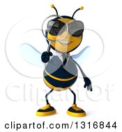 Clipart Of A 3d Business Bee Wearing Sunglasses And Searching With A Magnifying Glass Royalty Free Illustration