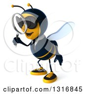 Clipart Of A 3d Business Bee Wearing Sunglasses Facing Left And Searching With A Magnifying Glass Royalty Free Illustration