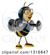 Clipart Of A 3d Bespectacled Business Bee Facing Right Doing Lateral Raises With Dumbbells Royalty Free Illustration