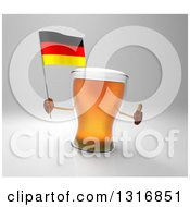 Clipart Of A 3d Beer Mug Character Giving A Thumb Up And Holding A German Flag Over Gray Royalty Free Illustration