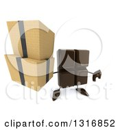 Clipart Of A 3d Chocolate Candy Bar Character Holding Up Boxes And A Thumb Down Royalty Free Illustration by Julos