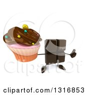 Clipart Of A 3d Chocolate Candy Bar Character Holding Up A Thumb And A Frosted Cupcake Royalty Free Illustration by Julos
