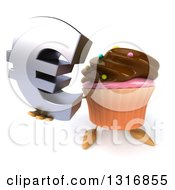 Clipart Of A 3d Chocolate Frosted Cupcake Character Holding Up A Euro Symbol Royalty Free Illustration