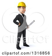 Clipart Of A 3d Young White Male Architect Holding Plans Facing Rigth With One Hand On His Hip Royalty Free Illustration