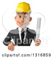 Clipart Of A 3d Young White Male Architect Holding Plans Over A Sign Royalty Free Illustration