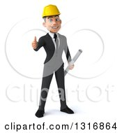 Clipart Of A 3d Happy Young White Male Architect Holding Plans And Giving A Thumb Up Royalty Free Illustration
