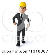Clipart Of A 3d Young White Male Architect Walking And Holding Plans Royalty Free Illustration