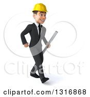 Clipart Of A 3d Young White Male Architect Walking Slightly To The Right And Holding Plans Royalty Free Illustration
