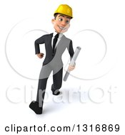 Clipart Of A 3d Young White Male Architect Speed Walking And Holding Plans Royalty Free Illustration
