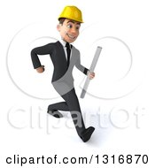 Clipart Of A 3d Young White Male Architect Speed Walking To The Right And Holding Plans Royalty Free Illustration