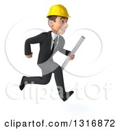 Clipart Of A 3d Young White Male Architect Holding Plans And Sprinting To The Right Royalty Free Illustration
