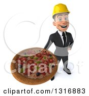 Clipart Of A 3d Young White Male Architect Holding Up A Pizza Royalty Free Illustration