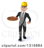 Clipart Of A 3d Young White Male Architect Walking And Holding A Pizza Royalty Free Illustration