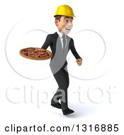 Clipart Of A 3d Young White Male Architect Walking To The Right And Holding A Pizza Royalty Free Illustration