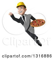 Clipart Of A 3d Young White Male Architect Flying And Holding A Pizza 3 Royalty Free Illustration