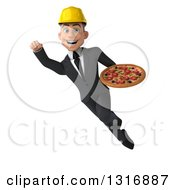 Clipart Of A 3d Young White Male Architect Flying And Holding A Pizza 2 Royalty Free Illustration