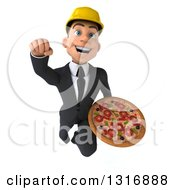 Clipart Of A 3d Young White Male Architect Flying And Holding A Pizza Royalty Free Illustration