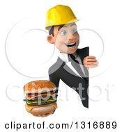 Clipart Of A 3d Young White Male Architect Holding A Double Cheeseburger And Looking Around A Sign Royalty Free Illustration