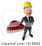 Clipart Of A 3d Young White Male Architect Holding Up A Beef Steak Royalty Free Illustration