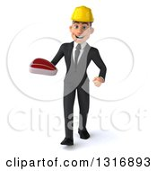 Clipart Of A 3d Young White Male Architect Walking And Holding Up A Beef Steak Royalty Free Illustration