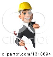 Clipart Of A 3d Young White Male Architect Holding A Toothbrush Around A Sign Royalty Free Illustration