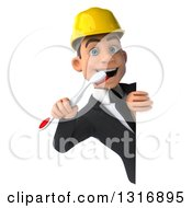 Clipart Of A 3d Young White Male Architect Using A Toothbrush Around A Sign Royalty Free Illustration