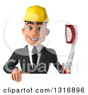 Clipart Of A 3d Young White Male Architect Holding A Giant Toothbrush Over A Sign Royalty Free Illustration