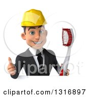 Clipart Of A 3d Happy Young White Male Architect Holding A Giant Toothbrush And Thumb Up Over A Sign Royalty Free Illustration