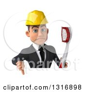 Clipart Of A 3d Unhappy Young White Male Architect Holding A Giant Toothbrush And Thumb Down Over A Sign Royalty Free Illustration