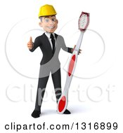 Clipart Of A 3d Young White Male Architect Giving A Thumb Up And Standing With A Giant Toothbrush Royalty Free Illustration