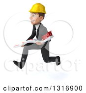 Clipart Of A 3d Young White Male Architect Sprinting To The Left With A Giant Toothbrush Royalty Free Illustration