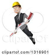Clipart Of A 3d Young White Male Architect Flying With A Giant Toothbrush Royalty Free Illustration