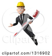 Clipart Of A 3d Young White Male Architect Presenting And Flying With A Giant Toothbrush Royalty Free Illustration