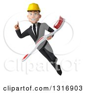 Clipart Of A 3d Young White Male Architect Holding Up A Finger And Flying With A Giant Toothbrush Royalty Free Illustration