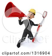 Clipart Of A 3d Young White Male Architect Announcing With A Megaphone And Giant Toothbrush Royalty Free Illustration