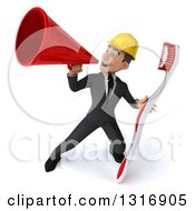 Clipart Of A 3d Young White Male Architect Announcing With A Megaphone And Giant Toothbrush 2 Royalty Free Illustration