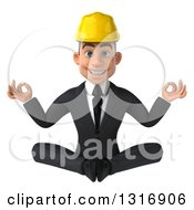 Clipart Of A 3d Young White Male Architect Meditating Royalty Free Illustration