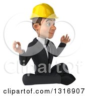 Clipart Of A 3d Young White Male Architect Meditating Facing Right Royalty Free Illustration