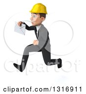 Clipart Of A 3d Young White Male Architect Sprinting To The Left And Holding An Envelope Royalty Free Illustration