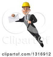 Clipart Of A 3d Young White Male Architect Flying Holding And Pointing To An Envelope Royalty Free Illustration