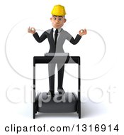 Clipart Of A 3d Young White Male Architect Meditating And Walking On A Treadmill Royalty Free Illustration