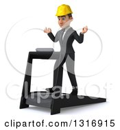 Clipart Of A 3d Young White Male Architect Meditating And Walking On A Treadmill Facing Slightly Left Royalty Free Illustration