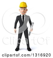 Clipart Of A 3d Young White Male Architect Smiling And Holding Plans Royalty Free Illustration by Julos