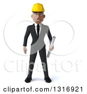 Clipart Of A 3d Young Black Male Architect Holding Plans Royalty Free Illustration by Julos