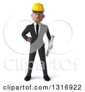 Clipart Of A 3d Young Black Male Architect Holding Plans With One Hand On His Hip Royalty Free Illustration