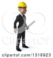Clipart Of A 3d Young Black Male Architect Holding Plans Facing Right Royalty Free Illustration