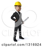 Clipart Of A 3d Young Black Male Architect Holding Plans Facing Right With One Hand On His Hip Royalty Free Illustration